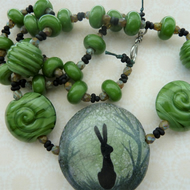 lampwork, ceramic and silver green hare necklace