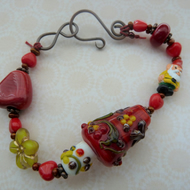 mr gnomes house lampwork bracelet