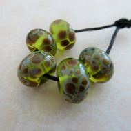 handmade lampwork green raku glass bead set