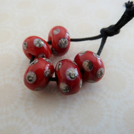 handmade lampwork glass beads, red and ivory spot set