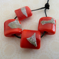 handmade red shard lampwork glass beads