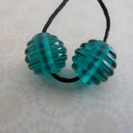 green teal handmade lampwork glass bead pair
