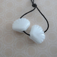 handmade lampwork white glitter sea shell beads