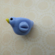 handmade lampwork blue bird glass bead