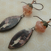 handmade lampwork, copper and ceramic earrings