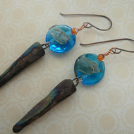 handmade copper, lampwork and ceramic spike earrings