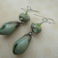 handmade sterling silver, lampwork and ceramic earrings