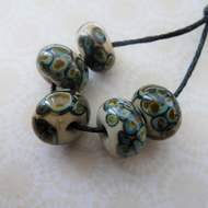 handmade lampwork glass beads, cream raku frit