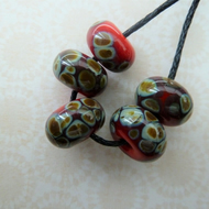 handmade lampwork glass beads, red raku frit set