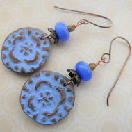 blue disc copper, lampwork and ceramic earrings