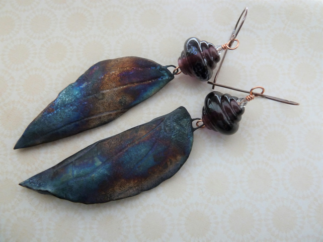 handmade lampwork and ceramic earrings