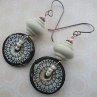 stone circles copper, lampwork and ceramic earrings