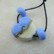 handmade lampwork glass blue heart bead