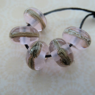 handmade lampwork pink wrapped glass beads