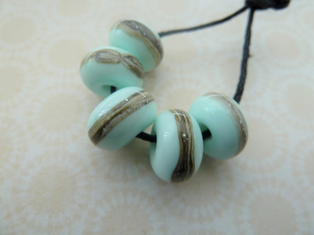 mint green handmade lampwork glass beads