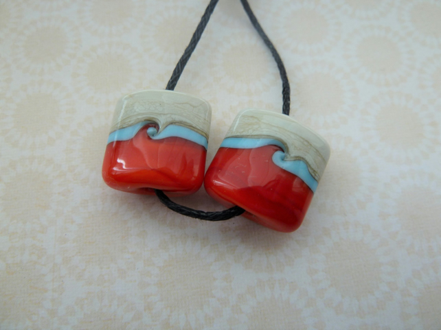 ivory, red and blue lampwork glass beads