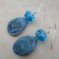 sterling silver, lampwork and ceramic blue earrings