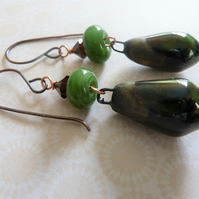 green lampwork, copper and ceramic earrings,