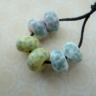 handmade lampwork pastel and grey frit beads