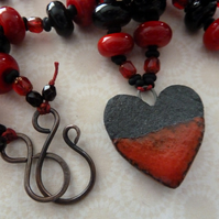 handmade lampwork, ceramic and copper necklace, red and black