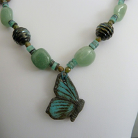 handmade green butterfly necklace, copper and lampwork