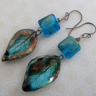 handmade blue leaf ceramic, lampwork and copper earrings