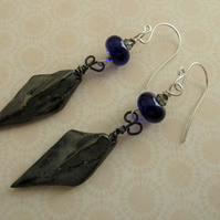 handmade sterling silver and ceramic dagger earrings