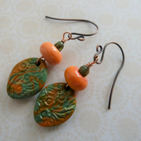 handmade copper, lampwork and polymer clay earrings