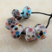 handmade lampwork glass beads, pink, blue and white frit set