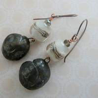 handmade copper, ceramic and lampwork earrings