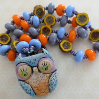 handmade lampwork and clay owl necklace