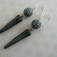 sterling silver, grey lampwork and ceramic spike earrings