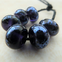 handmade purple and silver frit lampwork glass beads