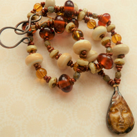autumn queen lampwork and ceramic necklace
