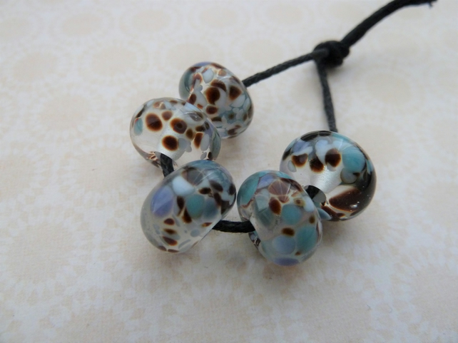 handmade lampwork glass beads, clear frit