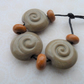 handmade lampwork glass beads, sand spiral set