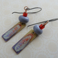handmade purple and red lampwork earrings