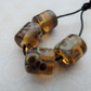 handmade lampwork glass beads, amber barrels