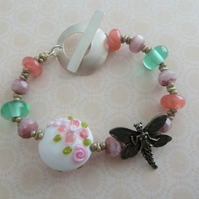 fairy garden lampwork, pewter and silver bracelet