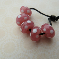 handmade lampwork pink and white spot beads