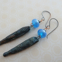 handmade lampwork, copper and ceramic spike earrings