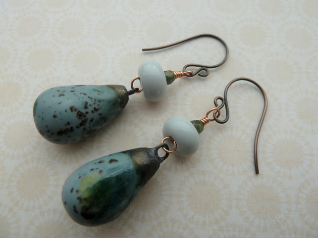 handmade copper, lampwork and ceramic earrings