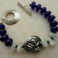 handmade lampwork, pewter dragon and sterling silver bracelet