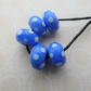 blue and white spot lampwork glass beads