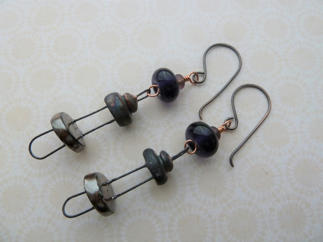 handmade copper, lampwork and ceramic disc earrings