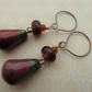 handmade copper, ceramic and lampwork earrings, red and purple