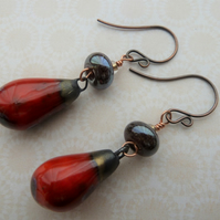 handmade copper, lampwork and ceramic earrings, red drops