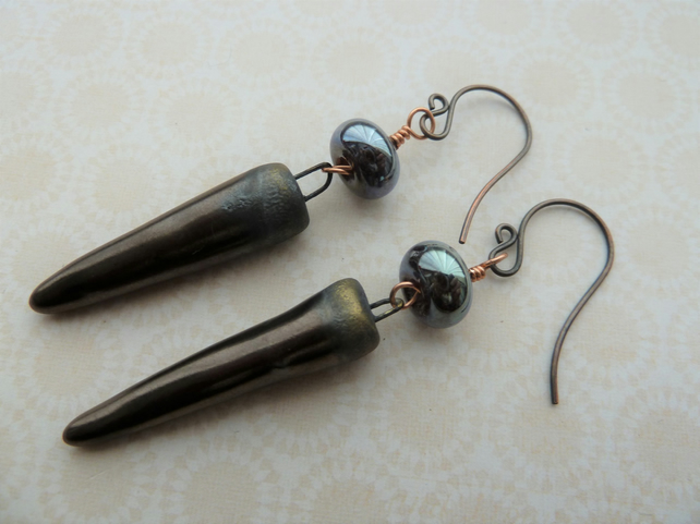 handmade copper, lampwork and ceramic bronze spike earrings