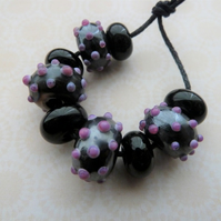 handmade lampwork glass beads, grey and pink spots