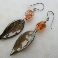 golden leaves copper, lampwork and ceramic earrings